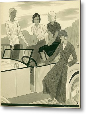 Four Women With A Car Metal Print