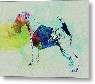 Fox Terrier Watercolor Metal Print by Naxart Studio