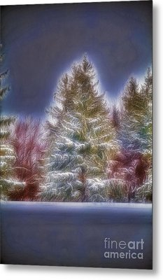 Fractalius Winter Pines Metal Print by Jim Lepard