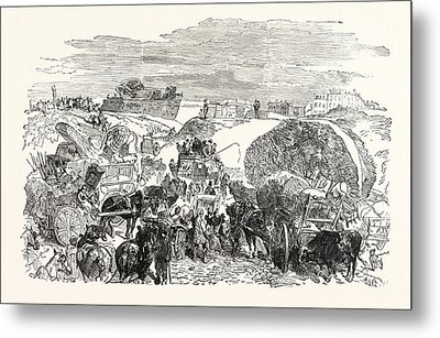 Franco-prussian War Residents Of The Zollinie Flee Metal Print by French School