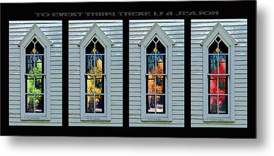 Frankford Church Window In Four Seasons Metal Print