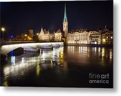 Fraumunster Abbey Night Scenic Metal Print by George Oze