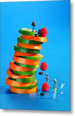 Free Falling Bodies Experiment On Fruit Tower Metal Print by Paul Ge