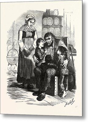 French Family In The Kitchen, France. Interior, Kitchen Metal Print by French School