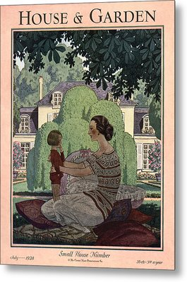 French Haute-bourgeois Domestic Scene Metal Print by Pierre Brissaud