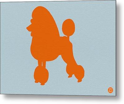 French Poodle Orange Metal Print by Naxart Studio