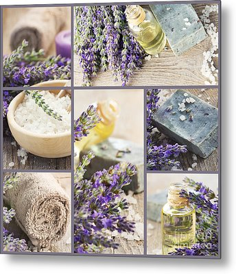 Fresh Lavender Collage Metal Print by Mythja  Photography
