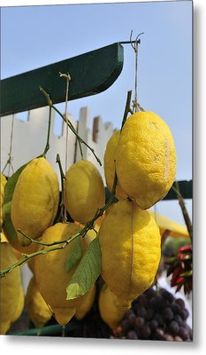 Fresh Lemons At The Market Metal Print by Matthias Hauser