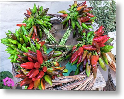 Fresh Red And Green Peppers For Sale Metal Print