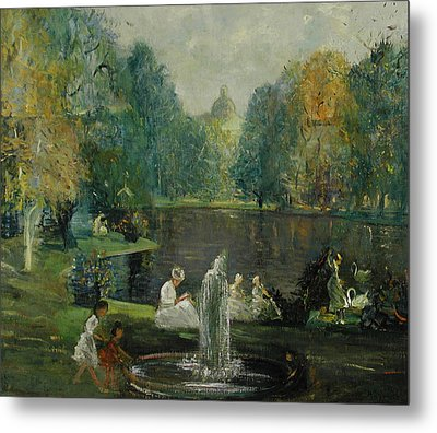 Frog Pond In Boston Public Gardens Metal Print by Arthur Clifton Goodwin