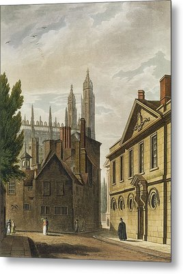 Front Of Trinity Hall, Cambridge Metal Print by Augustus Charles Pugin