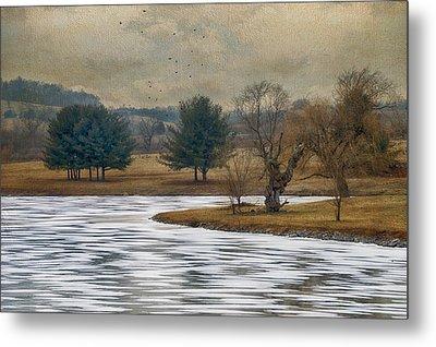 Frozen Lake Metal Print by Kathy Jennings