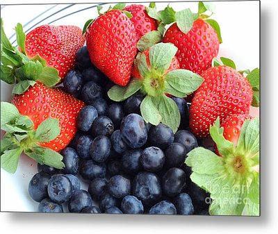 Fruit 2- Strawberries - Blueberries Metal Print by Barbara Griffin
