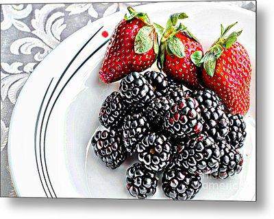 Fruit I - Strawberries - Blackberries Metal Print by Barbara Griffin