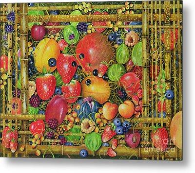 Fruit In Bamboo Box Metal Print by EB Watts