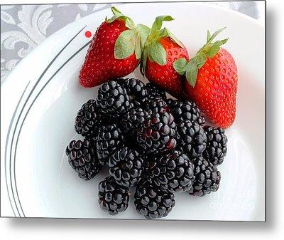 Fruit Iv - Strawberries - Blackberries Metal Print by Barbara Griffin