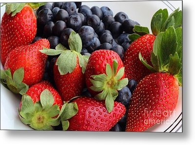 Fruit - Strawberries - Blueberries Metal Print by Barbara Griffin