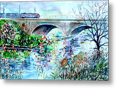 Metal Print featuring the painting Fuerth Seven Arches Bridge by Alfred Motzer