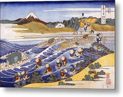 Fuji From The Ford At Kanaya Metal Print by Katsushika Hokusai