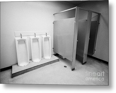 full length urinals and cubicles in mens toilet of High school canada north america Metal Print by Joe Fox