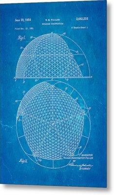 Fuller Geodesic Dome Patent Art 1954 Blueprint Metal Print by Ian Monk