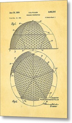 Fuller Geodesic Dome Patent Art 1954  Metal Print by Ian Monk