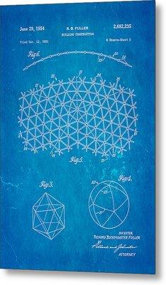 Fuller Geodesic Dome Patent Art 2 1954 Blueprint Metal Print by Ian Monk