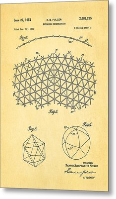 Fuller Geodesic Dome Patent Art 2 1954  Metal Print by Ian Monk