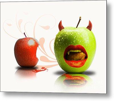 Funny Satirical Digital Image Of Red And Green Apples Strange Fruit Metal Print