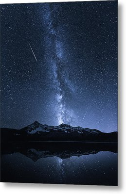Galaxies Reflection Metal Print