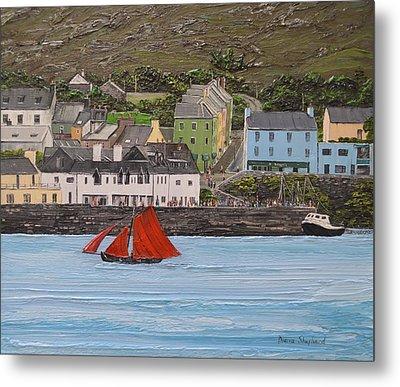 Galway Hooker Sailing Past Roundstone Connemara Ireland Metal Print by Diana Shephard