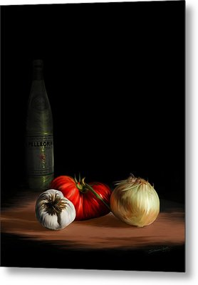 Garden Vegetables With Pellegrino Metal Print by Sharon Beth