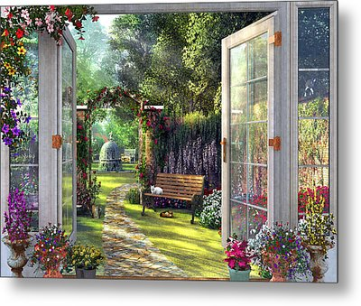 Metal Print featuring the drawing Garden View by Dominic Davison