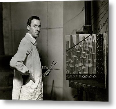 Gardner Hale In Front Of A Painting Metal Print by Paul Hansen
