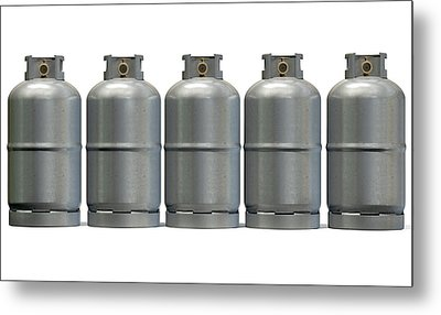 Gas Cylinder Row Metal Print by Allan Swart