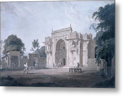 Gate Leading To A Mosque, Chunargarh Metal Print by Thomas & William Daniell