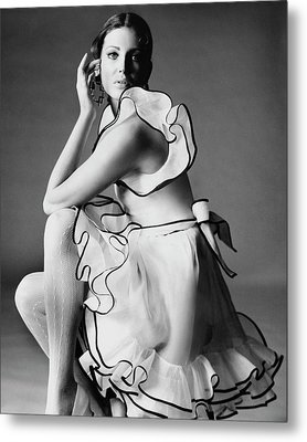 Gayle Hunnicutt Wearing A Oscar De La Renta Dress Metal Print by Bert Stern