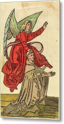 German 15th Century, A Monk With An Angel, 1480-1490 Metal Print