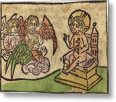 German 15th Century, Christ Child With Three Angels Metal Print