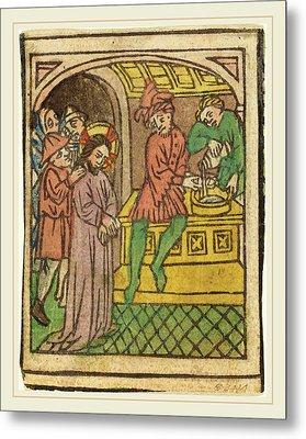 German 15th Century, Pilate Washing His Hands Recto Metal Print