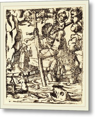 German 16th Or 19th Century, Saint Christopher Metal Print