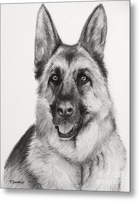 German Shepherd Drawn In Charcoal Metal Print