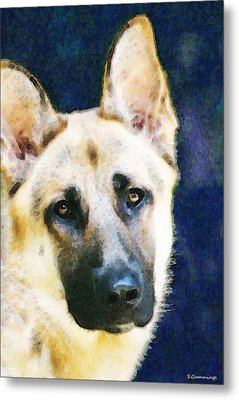 German Shepherd - Soul Metal Print by Sharon Cummings