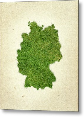 Germany Grass Map Metal Print by Aged Pixel