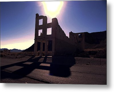 Ghost Town - Bank Closed Metal Print by Maria Arango Diener