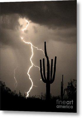 Giant Saguaro Cactus Lightning Strike Sepia  Metal Print by James BO  Insogna