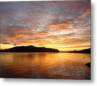 Gilded Fjord While The Sun Set Over Norwegian Mountains Metal Print by David Schoenheit