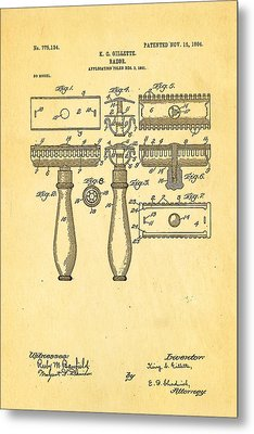 Gillette Safety Razor Patent Art 1904 Metal Print by Ian Monk