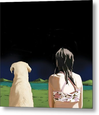 Girl And Yellow Lab Metal Print by Marjorie Weiss