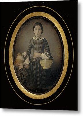 Girl Holding A Basket Atelier Héliographique Metal Print